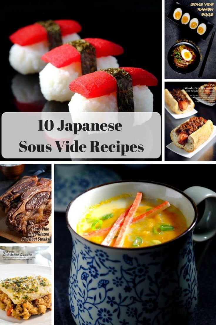 collage of japanese sous vide recipes including tomato sushi, and ramen