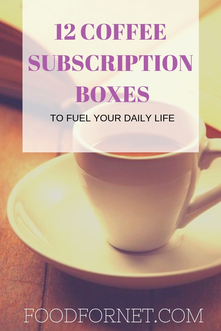 graphic with page title of '12 coffee subscription boxes' with an espresso shot and up in the background