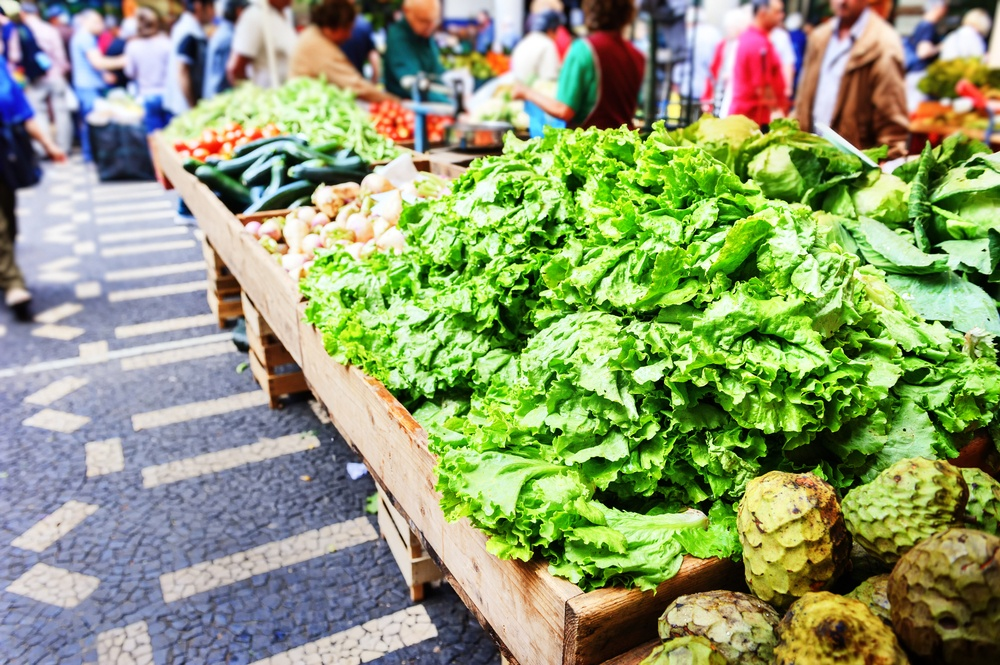 exotic vegetables in a market