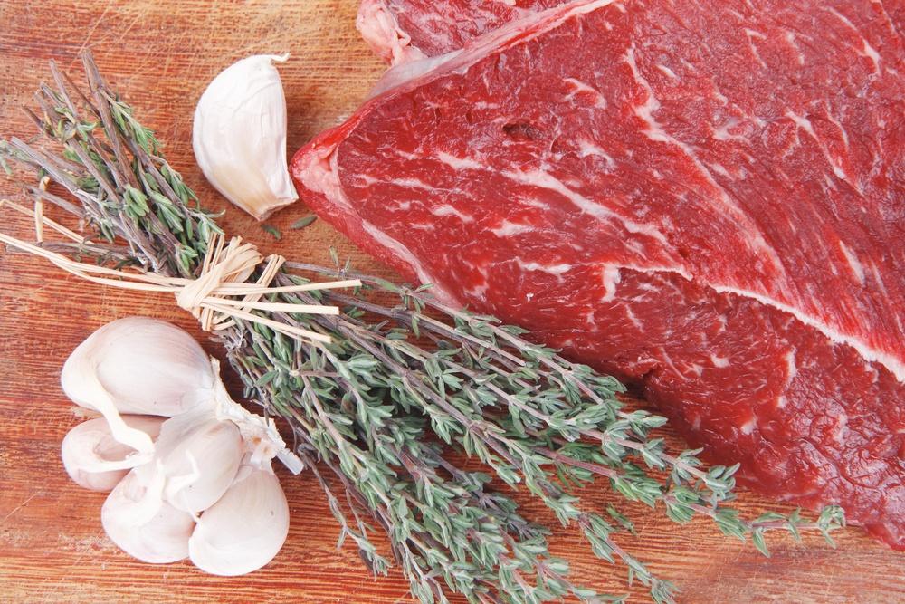 thyme raw steak