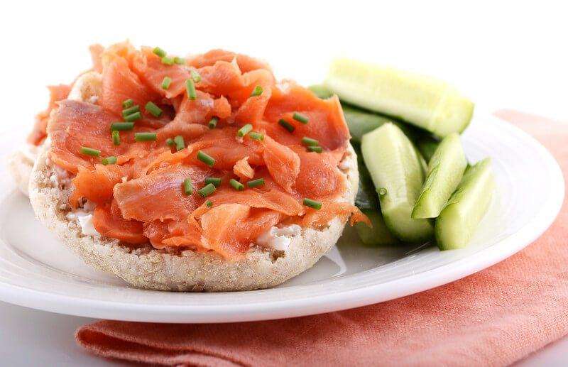 Smoked salmon on an English muffin