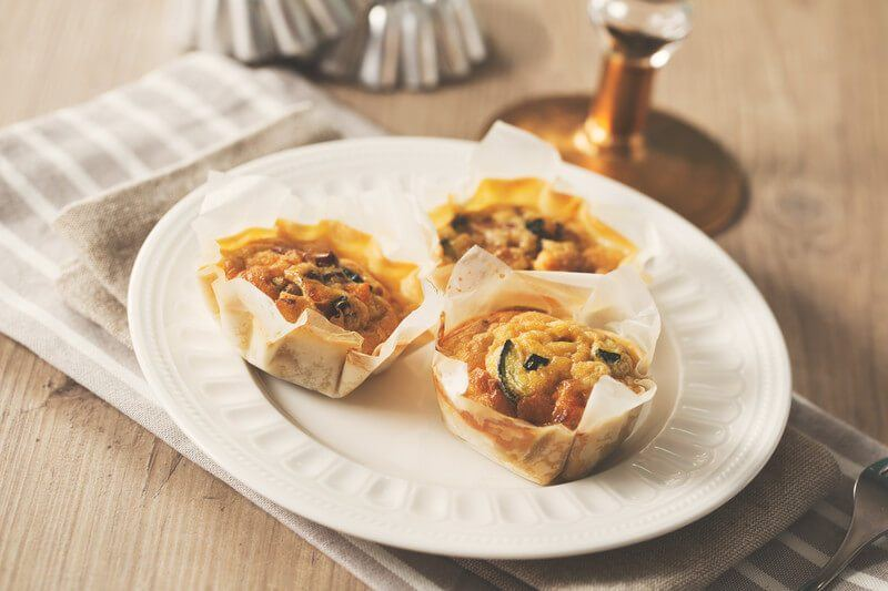 Mini quiches with pumpkin and vegetables