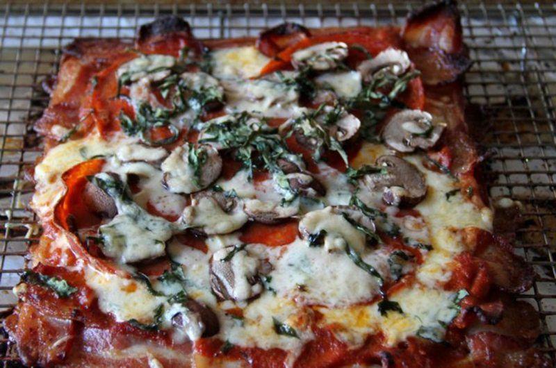 Bacon Lattice Ketogenic Pizza