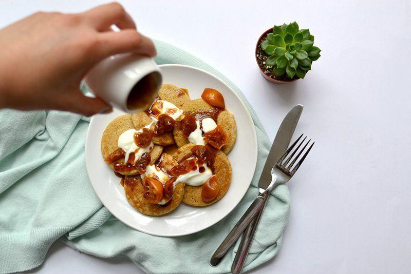 Dairy-Free Cornmeal Pancakes with Candied Kumquats