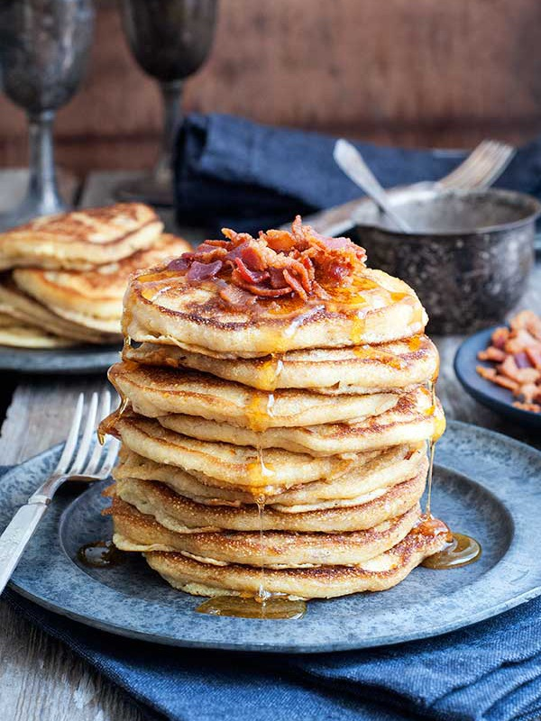 Gluten-Free Cornmeal Bacon Pancakes