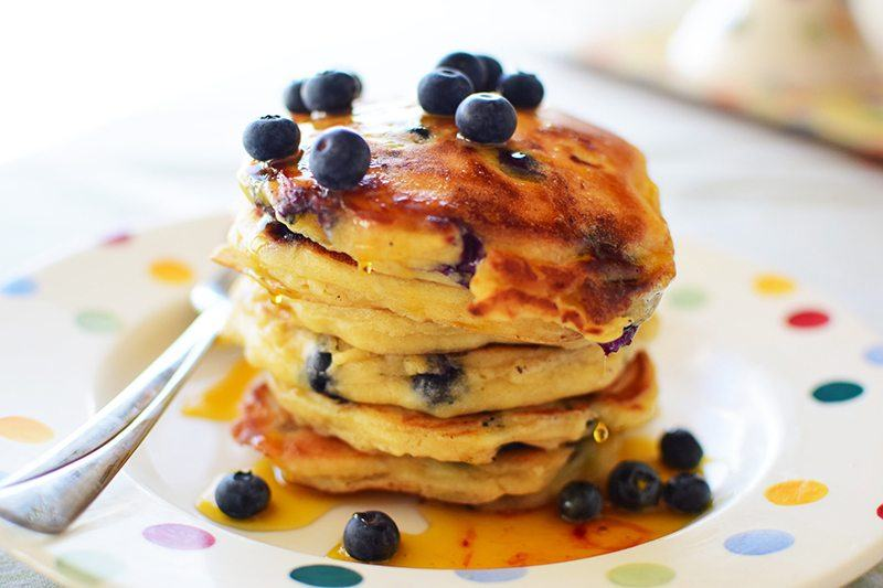 Blueberry Sour Cream Pancakes with Gluten-Free Bisquick