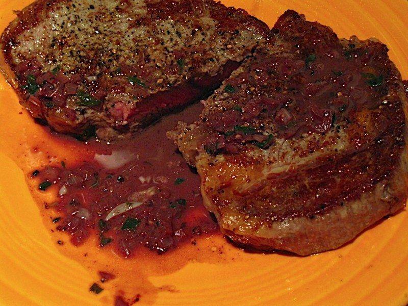 Ribeye Steak Saute with Red Wine