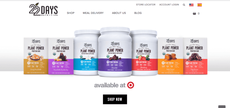 screenshot of 22 days plant powder meal replacement shakes (website) showing various protein powers and bars