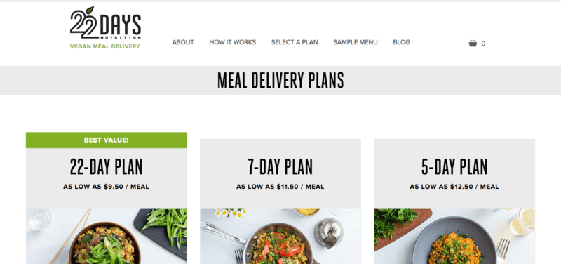 22 Days Nutrition website screenshot with 22, 7, and 5 day plan