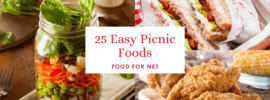Three types of picnic food, including a mason jar salad, sandwiches, and fried chicken