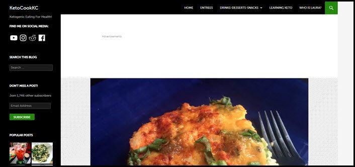 Website screenshot from Keto Cook KC