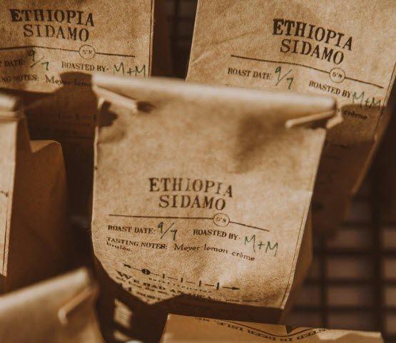 Bags of Ethiopian roast coffee