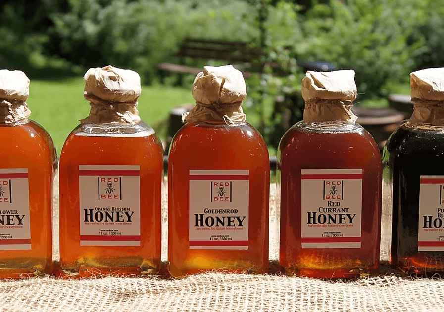 5 bottles of red bee honey with cork stopper and cloth tops - the three middle bottles are orange blossom, goldenrod, and red currant