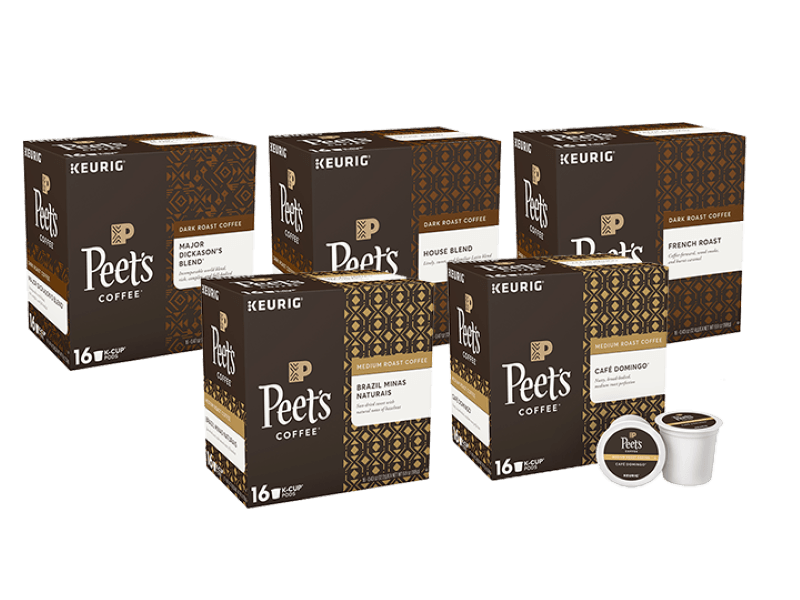5 boxes of Peet's Coffee K cups -three dark roasts and two medium roasts