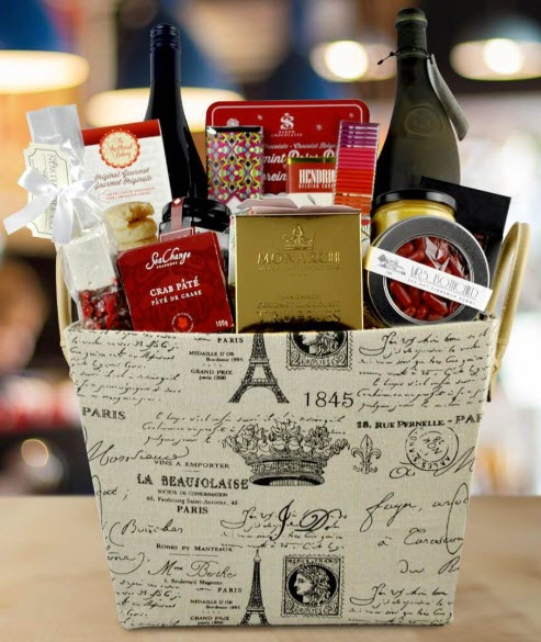 French-themed box with snacks and wine.