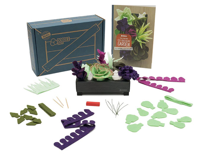 A Garden Kit from Doodle Crate showing various pieces of felt used to create a gardenf