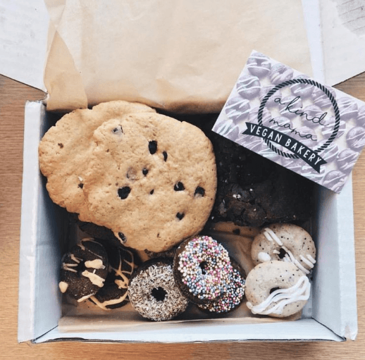A box containing various vegan treats