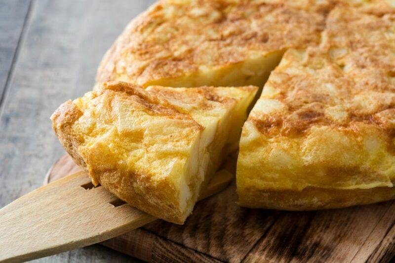 A Spanish omelet made using potatoes. It is also called tortilla de patatas