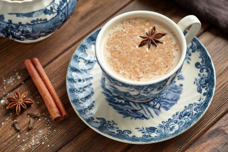 A blue and white saucer, where the mug