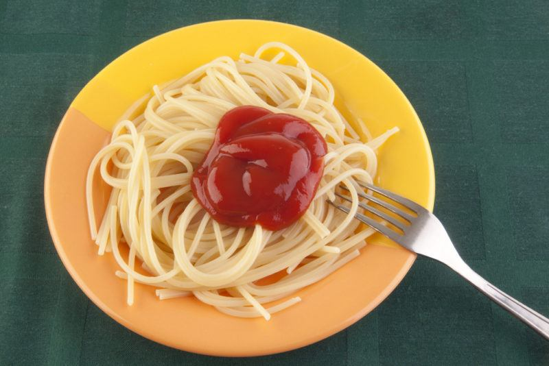 A boring plate of spaghetti with ketchup