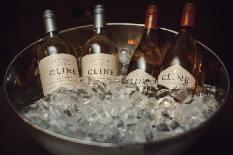 A bucket of ice with viognier wine and pinot gris