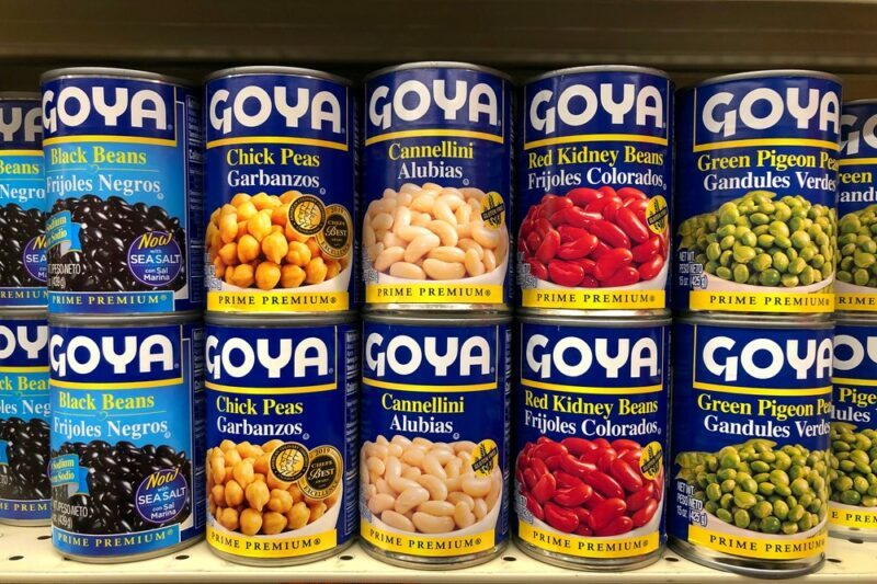 A dozen or so cans of Soya legumes