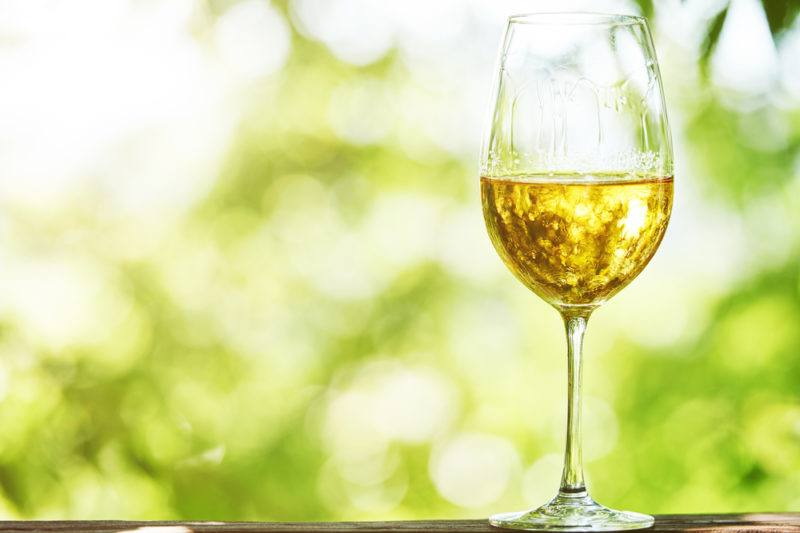 A glass of Viognier wine against a light green background