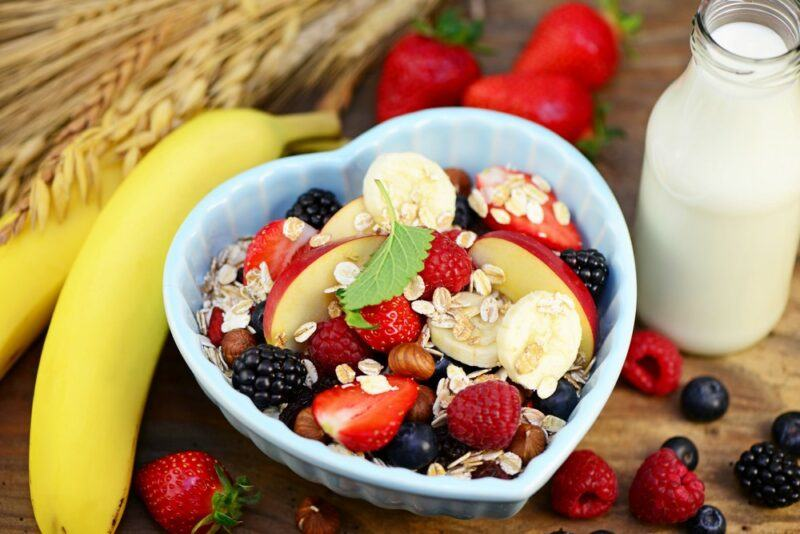 A blue bowl with fruit for breakfast