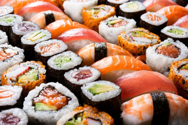 Many different types of fresh sushi