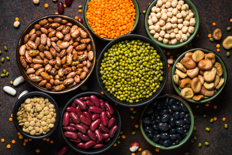 A selection of bowls containing different legumes including lentils and beans