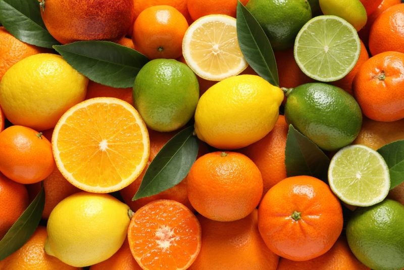 A selection of citrus fruit including lemons, limes and oranges