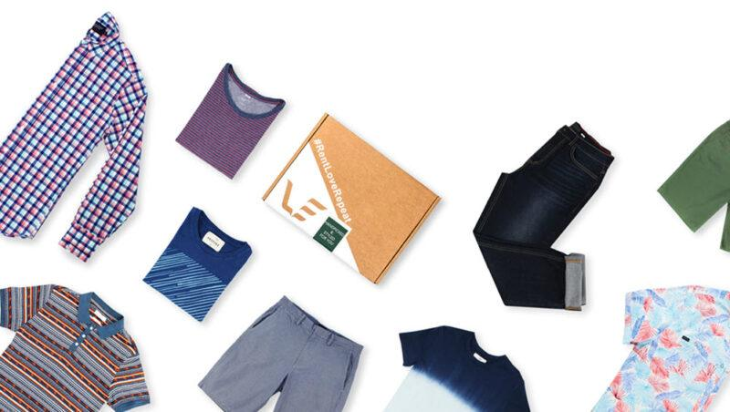 A white background with a selection of clothes from the Mr. Collection, along with a box