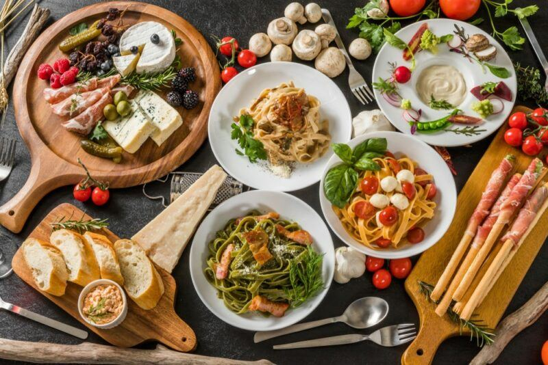 A collection of healthy foods that could be part of a Mediterranean diet