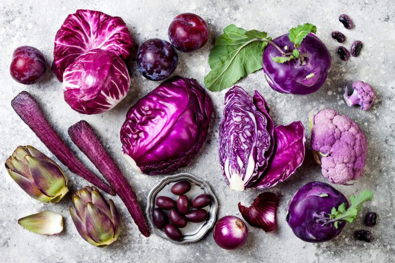 A selection of purple vegetables