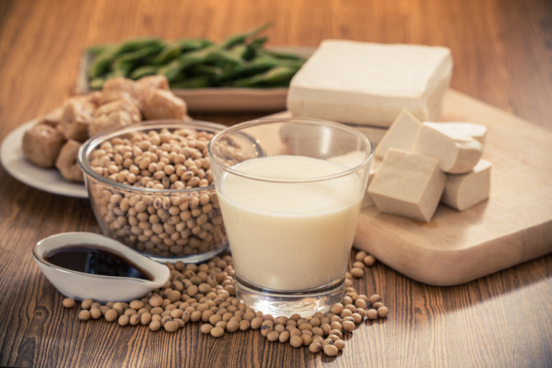 Soybeans and various products that contain soy, including soy sauce, tofu, and edamame