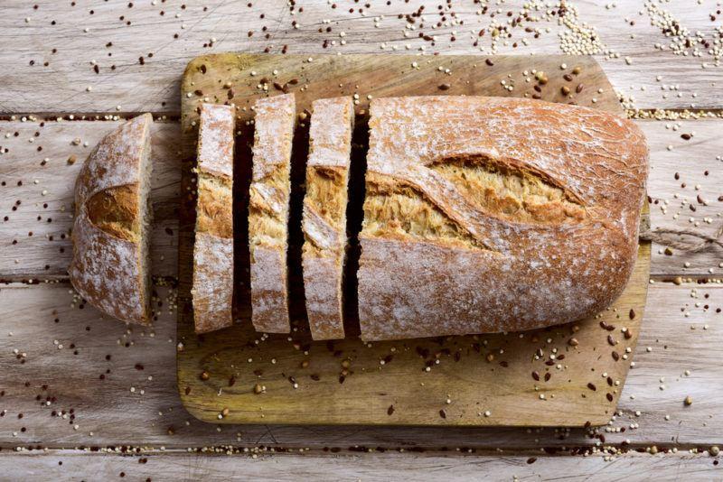 A sliced loaf of spelt bread