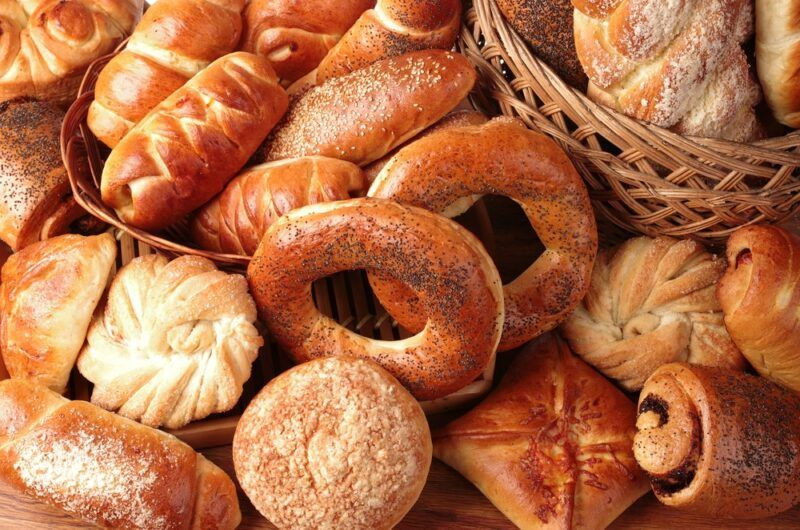 Many different baked ingredients, including bagels and buns