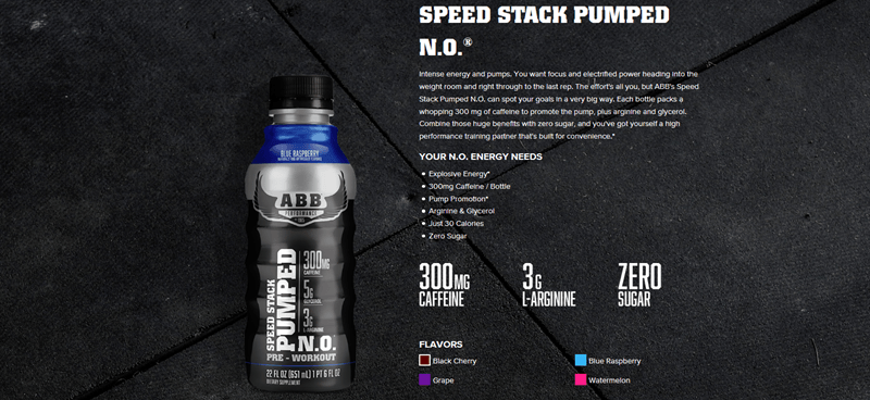 A website screenshot for ABB Speed Stack Pumped N.O.