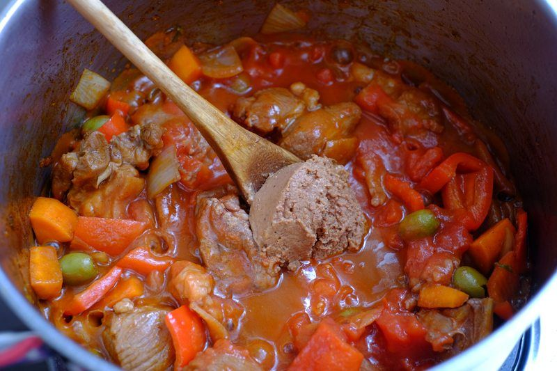 add in the tomatoes, liver pate, and beef stock