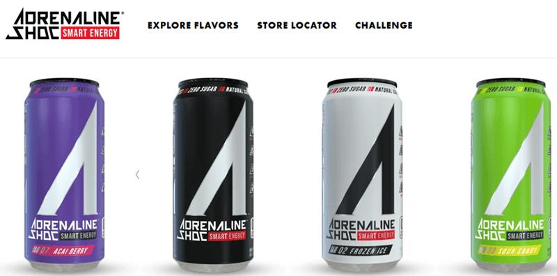 A website screenshot for Adrenaline Shoc