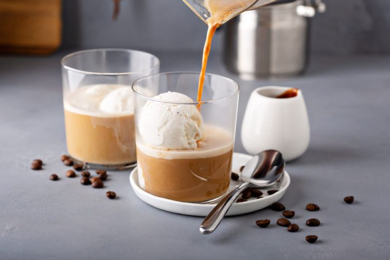 Two glasses of spiked affogato