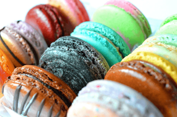 Various colored macarons