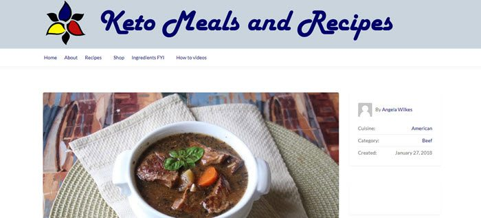 Website screenshot from Keto Meals and Recipes