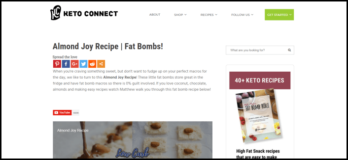 Website screenshot from Keto Connect