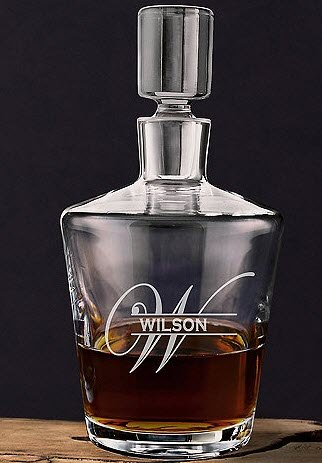Decanter with a W and Wilson