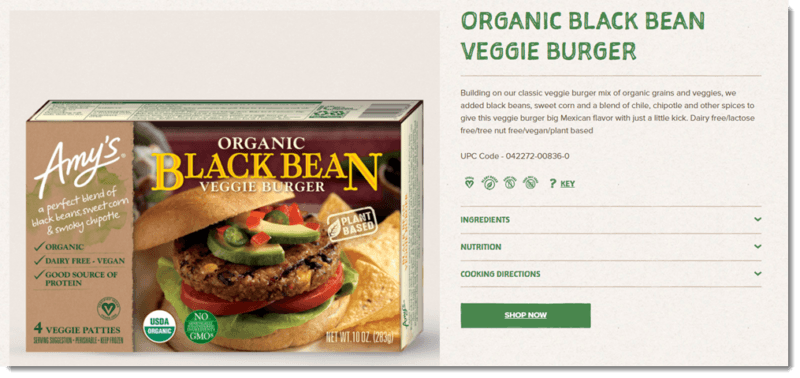 A website screenshot from the Amy's site, showing their black bean burger