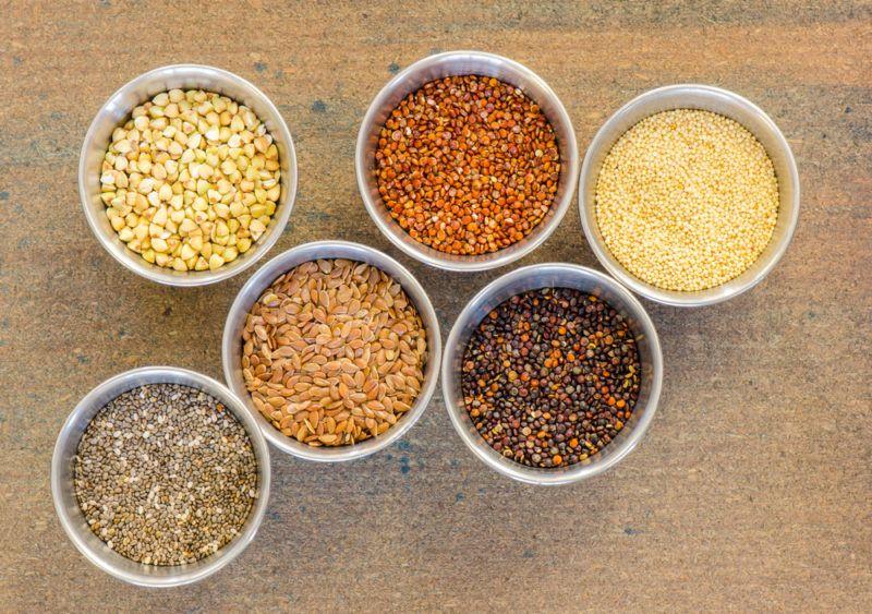 Small bowls contain ancient grains