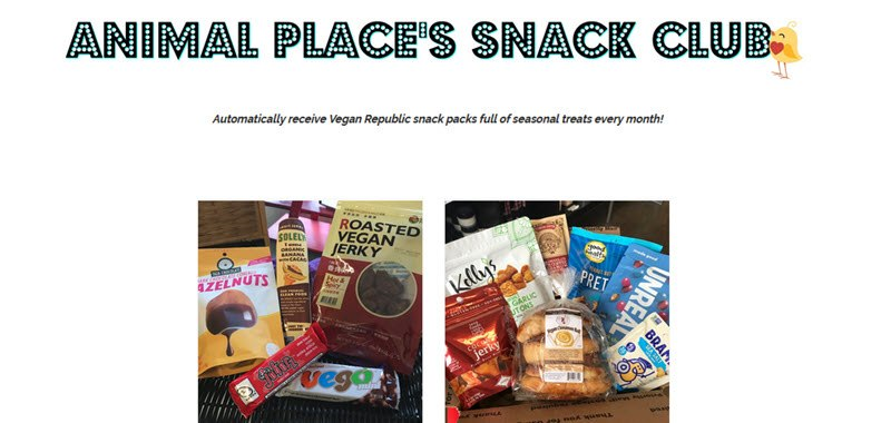 Animal Place's Snack Club Website Screenshot showing their two boxes