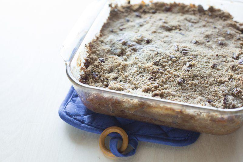 Apple Maple Crisp Prep Finished Cooked Pan Dessert