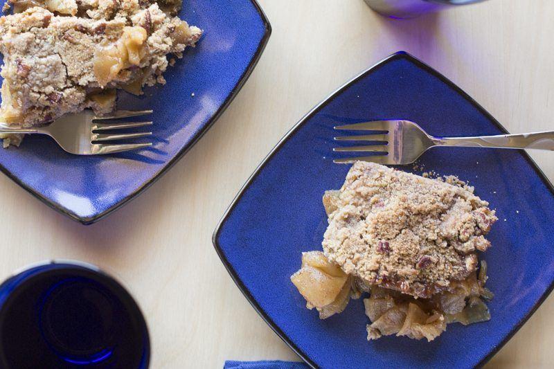 Apple Maple Crisp Top Down Detail Blue Plates Glasses Dessert